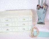 Vintage Jewelry Box Armoire Mint Green Handpainted Jewelry Box Shabby Cottage Chic Jewelry Box