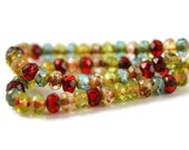 50 Czech Transparent Color Mix - 5x3mm - Aqua, Red, Blue and Green with Picasso Finish