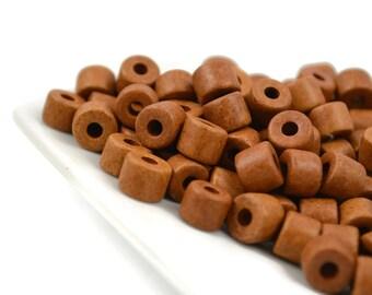 20 Mykonos Short Tube - Tobacco - 8 x 7mm - Greek Ceramic Beads