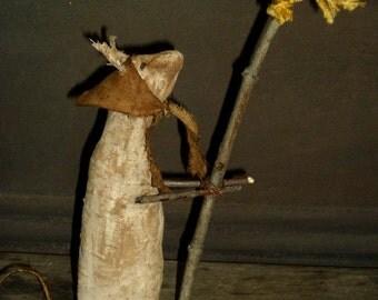 Primitive Mouse with Dandelion ~~ rag stuffed ~~ shelf sitter
