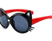 CAT Sunglasses BLaCK RED PINK Vintage STyLE CaT'S EyE Small Face  1960 1970 1980 Couture Mad Men  catseye dress Rockabilly