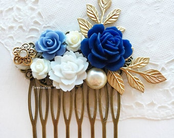 Wedding Comb Navy Blue White Bridal Hair Accessories Gold Leaves Pearl Floral Hair Slide Elegant Romantic Hair Clip Rustic Headpiece
