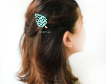 Turquoise Hair Clip Vintage Style Aqua Bridesmaids Gift Flower Girl Hair Accessories Patina Blue Hair Pin