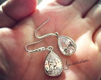 Wedding Earrings, Silver Rhinestone Earrings, Cubic Zirconia Earrings, Crystal Earrings, Bridal Jewelry, Dangling Earrings for Bride C1 JW