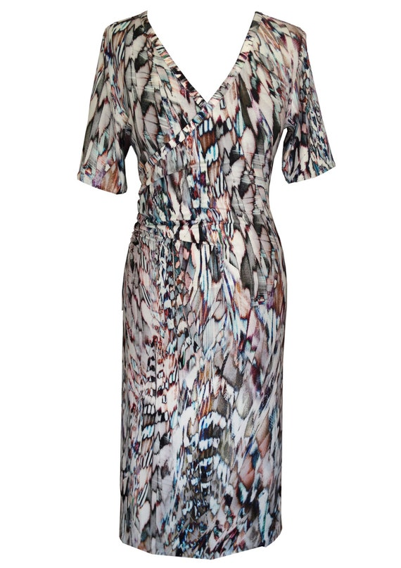 Cotton Wrap Dress, Plus Size Dress, Feathers Print Dress, V Neck Dress, Summer Dress, Short Sleeves Dress, Designer Dress, Pink Dress