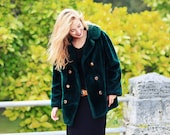 Vintage 60s Green Coat Faux Fur Oversize Evening Coat // RESERVED FOR K G-C