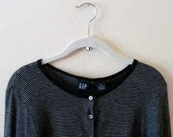 90s Gap Black & White Striped Cardigan Sweater XS S