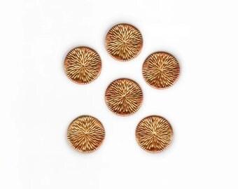 6 Mid Century Modern Brass Sunburst Buttons 1960s