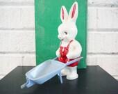 Shabby retro rabbit plastic easter vintage red white blue