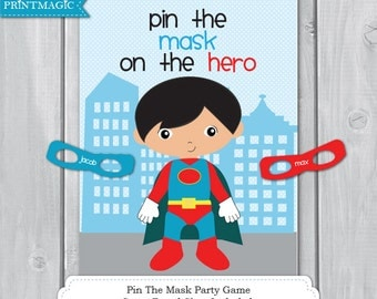 Pin the Mask On the Superhero Printable Party Game - 3 Sizes - Superhero Party Game - Hero Party Game - Superhero Party - Instant Download