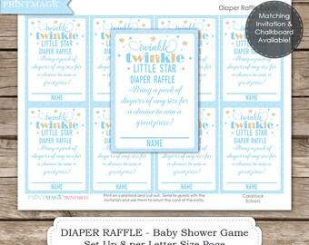Blue Twinkle Twinkle Diaper Raffle Baby Shower Game - Instant Download - Twinkle Twinkle Baby Shower - Twinkle Star Baby Shower Raffle