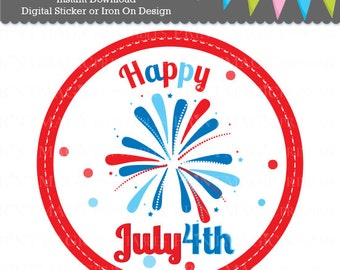 July 4th Digital Iron On or Digital Sticker Design - July 4th iron on - July 4th tshirt sticker - Independence Day tshirt