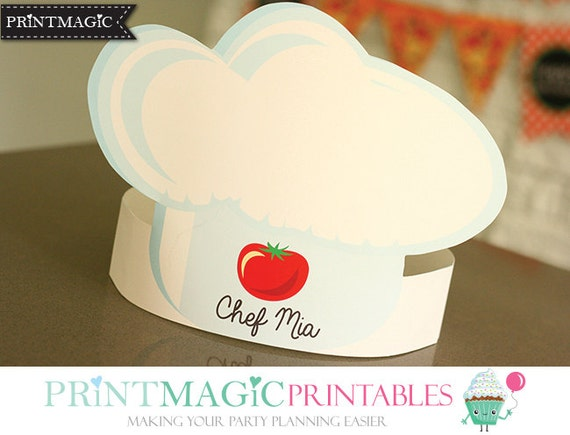 Pizza party hat chef hat printable party hat birthday for Printable chef hat template