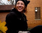 Knitted Cat Hat, Black Cat Hat, Knitted Hat