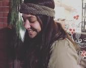 Knitted Headband Chunky headband Knitted Earwarmer Braided Headband Brown Headband