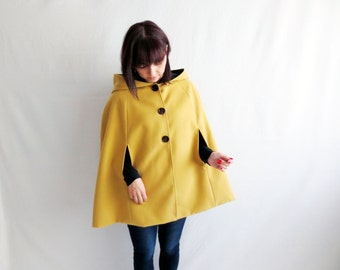 Mustard cape, wool cape, fall fashion, hooded cloak, fairy tale cape coat, hooded cape, adult cape, cloaks and capes, yellow cape