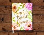 Floral Bridal Shower Guest Book, Wedding Journal, Bridal Shower Book, Wedding Memento, Wedding Guest Book, Floral Journal, Guest Book