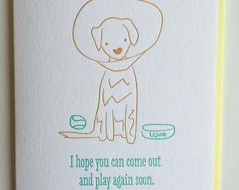 Get Well Card - Feel Better Soon Card - Get Well letterpress / Dog Get Well Card for Pet - Get well card for best friend / DeLuce Design