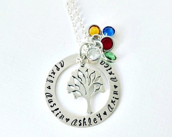 Mother's Birthstone Necklace Hand Stamped Jewelry - Sterling Silver Heart Tree Necklace - Personalized Jewelry - Mother Necklace