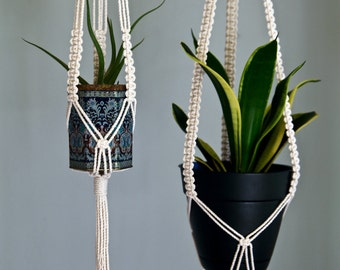 "Macrame Plant Hanger - 25"" Knotted - Natural White Cotton Rope - Indoor Hanging Planter - Boho Home, Nursery, Wedding Decor"