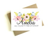 Personalized Maid of Honor Card 'Will You Be My Maid of Honor' - Greeting Card, Maid of Honor, Wedding Card, Floral Card, Bridal Party