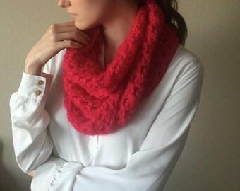 Chunky Crochet Cowl Neckwarmer Scarf | Cerise Cherry Red | Wool Yarn