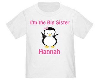 Big Sister Pink Butterfly Butterflies Girls Personalized T Shirt