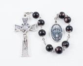 Holy Souls Chaplet, Brown Glass Beads, Holy Souls in Purgatory - Catholic Chaplet Prayer Beads - Powerful Intercessors, Ora Pro Nobis