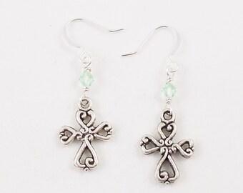 SALE Beaded Cross Earrings - Peridot Green Swarovski Crystal Dangle Earrings with Filagree Cross - Dainty Christian Jewelry