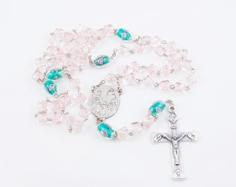 Three Hearts Rosary, Pink & Teal Glass Beaded Rosary - Sacred, Immacultate, and Chaste Hearts of Jesus, Mary, and Joseph Holy Family Center