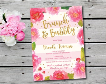 bubbly and brunch invitation floral bridal shower invitation champagne brunch invitation bridal shower