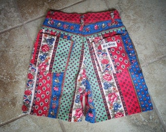 Fabulous Vintage Denim High Waist Waisted Floral Print Patchwork 1990s Shorts  from Be Bop 3