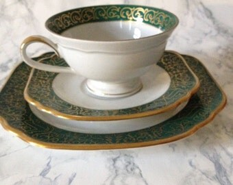 Lettin GDR Vintage Antique German Fine bone Porcelain China 3 Piece tea cup saucer and dessert plate green and Gold
