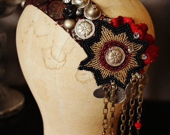 Tribal Fusion Headdress- Bold Black, Gold and Red Tribal Belllydance Headpiece