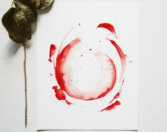 Red - Abstract Watercolor Print - 8 x 10