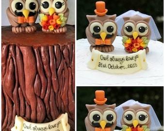 Custom wedding owl cake topper, mustache cake topper, love birds cake topper, groom with mustache