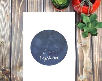 Capricorn Wall Art, Zodiac Astrology Constellation Horoscope Decor Outer Space Home Decor, Stars and Night Sky  Blue Horoscope Art