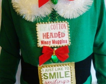 ELF Ugly Christmas Sweater. Light Up. Buddy. Tacky X-mas Sweater.  Will Ferrell Funny. OOAK. Cool. Green Winner  - Size S M L