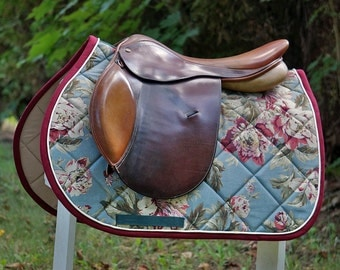 MADE TO ORDER - Blue, Burgundy, and Tan Cabbage Rose Saddle Pad