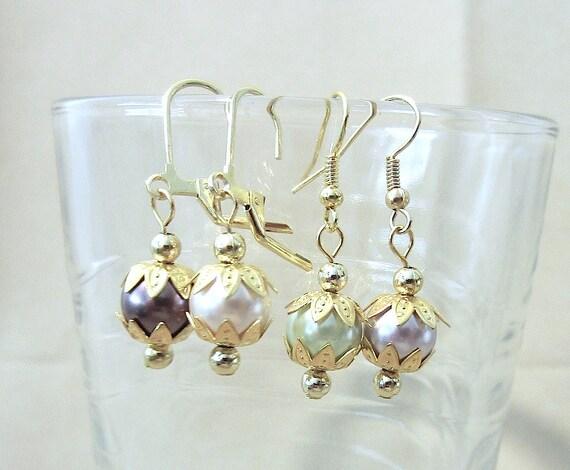 Pastel Pearl Earrings, Colored Pearl & Gold Flower Dangle Earrings, Simple Pearl Wedding Earrings, Colored Pearl Earrings, Gift for Her