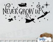 Peter Pan Tinkerbell Wendy John Michael Flying Never Grow Up Second Star Wall Decal Vinyl Sticker Quote Walt Disney Spiffy Decals