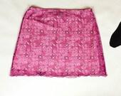 90s Pink Mesh Paisley Pattern Overlay Wavy Hem Mini Skirt / Clueless / Club Kid / Spice Girls / Tropical / Cyber Goth / Medium / Kawaii