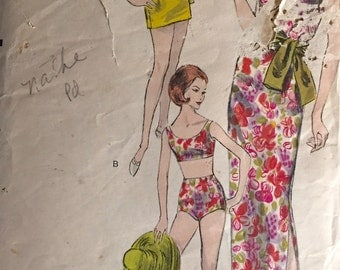 "Vintage 1960s Vogue Misses' Dress, Bathing Suit, and Tunic Pattern 5848 Size 12 (32"" Bust)"