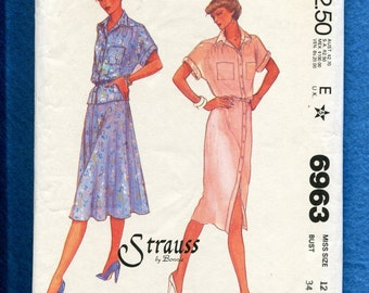 1980's McCall's 6963 Designer Strauss Shirt Dress Top & Flared Skirt Size 12 UNCUT