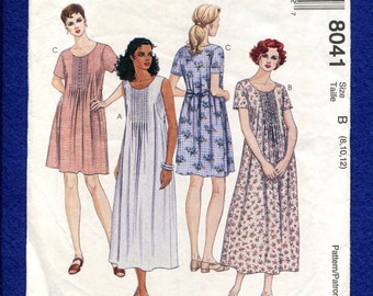 McCalls 8041 Easy Country Dress with Raised Waist & Bodice Tucks  Size 8..10..12 UNCUT