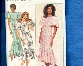 1980's Butterick 5659 Hollywood Glamor Retro Flounce Skirt Dresses Size 8..10..12