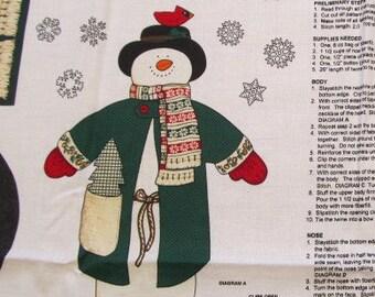 Snowman Fabric Panel:  Cranston Jack Snow Christmas Destash