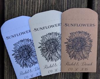 20+ Custom, Paper, Sunflower, Seed Packet, Seeds, Weddings, Favor, Favour, Envelope, Wedding, Herbs,  Wildflowers, Seed Favors
