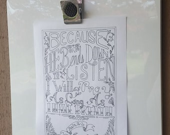 Printable Coloring Page - Psalm 116:2