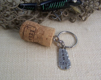Cork Keychain, DAD 201- Spinner Key Chain Personalized, Key Ring for Fisherman, Fishing Key chain for DAD, Ready to Ship Gift Under 15 SALE